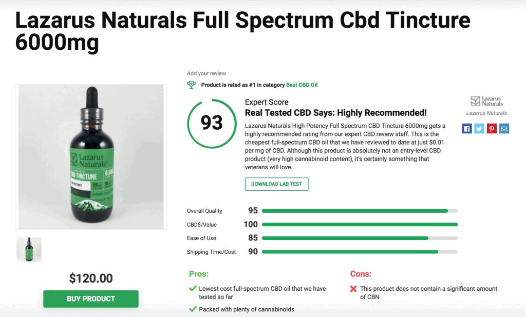 Lazarus Naturals Full Spectrum CBD Tincture – 6000mg