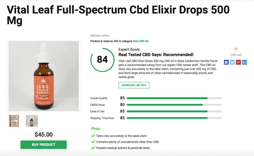 Vital Leaf CBD Oil - 500mg