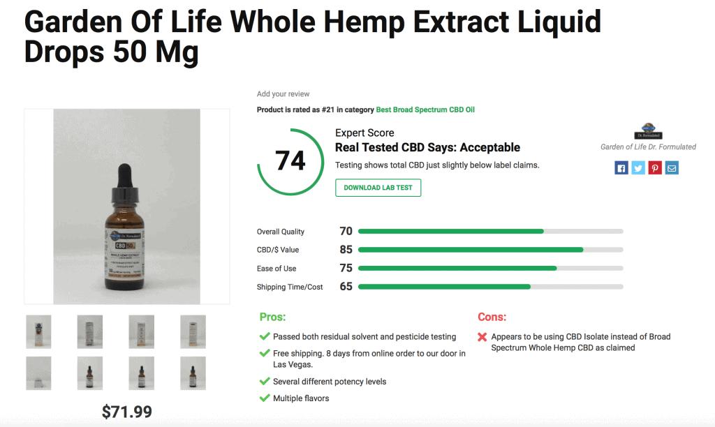 Garden of Life Whole Hemp Extract Liquid Drops – 50mg