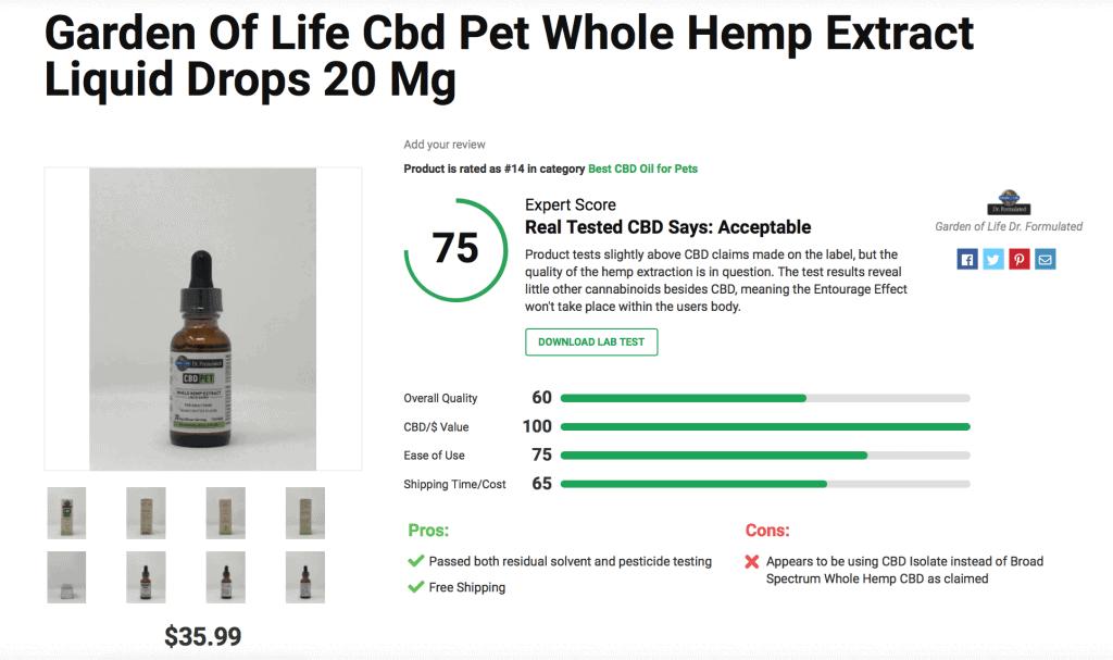 Garden of Life CBD Pet Whole Hemp Extract Liquid Drops – 20mg
