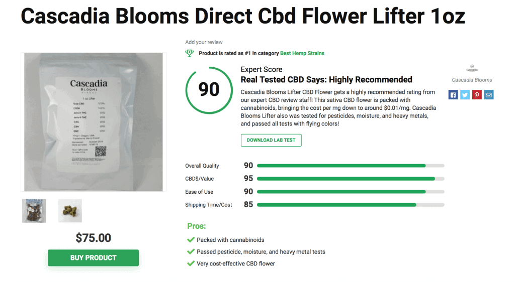 Cascadia Blooms Direct CBD Flower Lifter – 1oz.