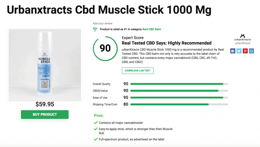 urbanXtracts CBD Muscle Stick – 1000mg