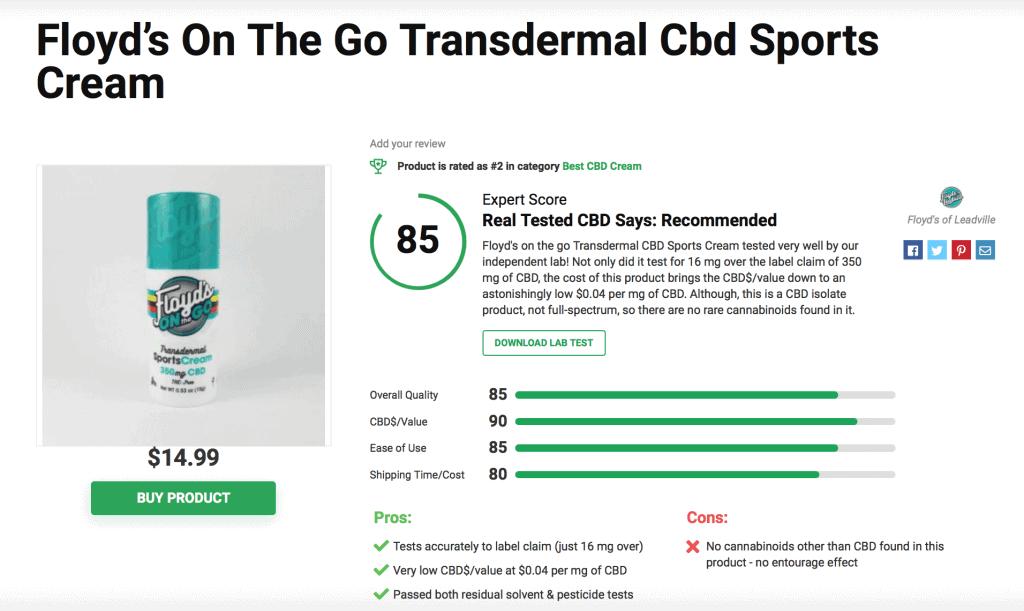 Floyd's On-The-Go Transdermal CBD Sports Cream