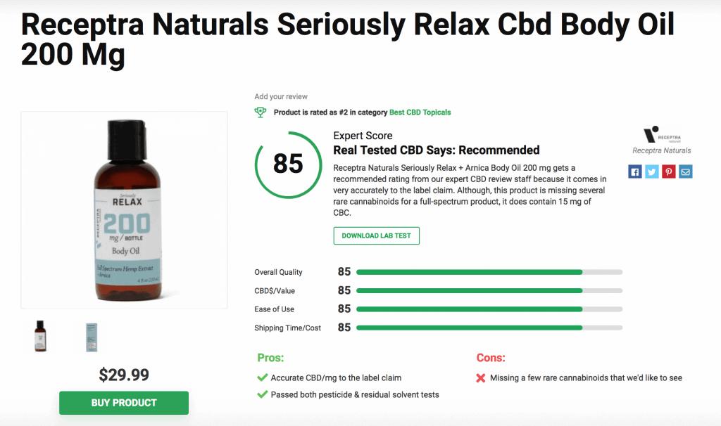Receptra Naturals Seriously Relax CBD Body Oil