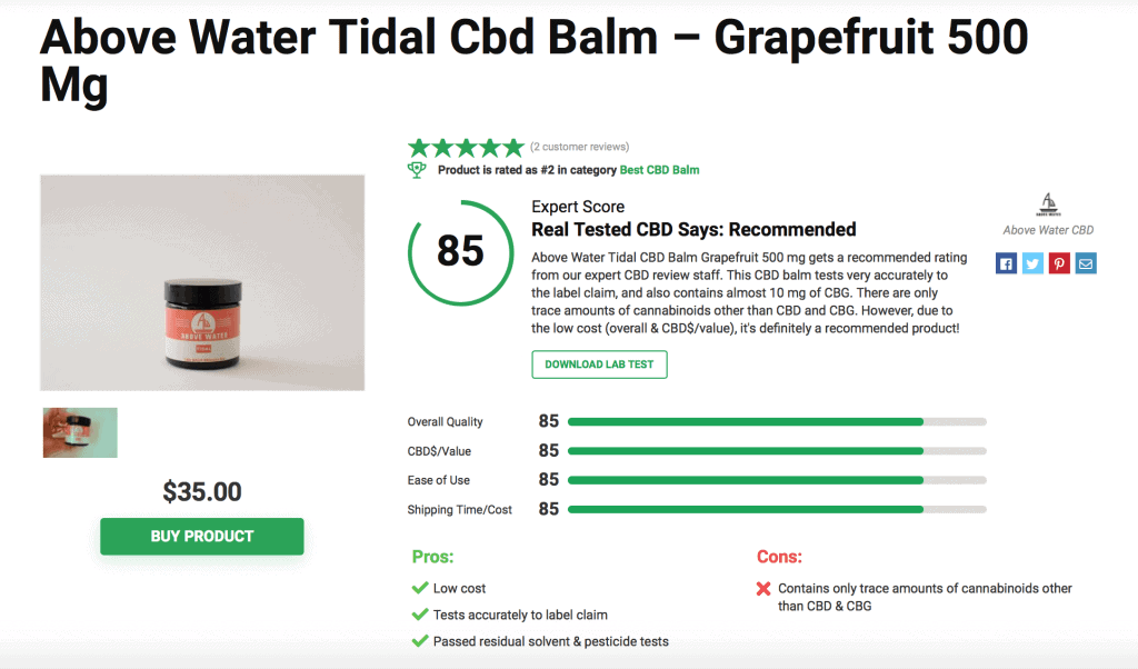 Above Water Tidal CBD Balm Grapefruit