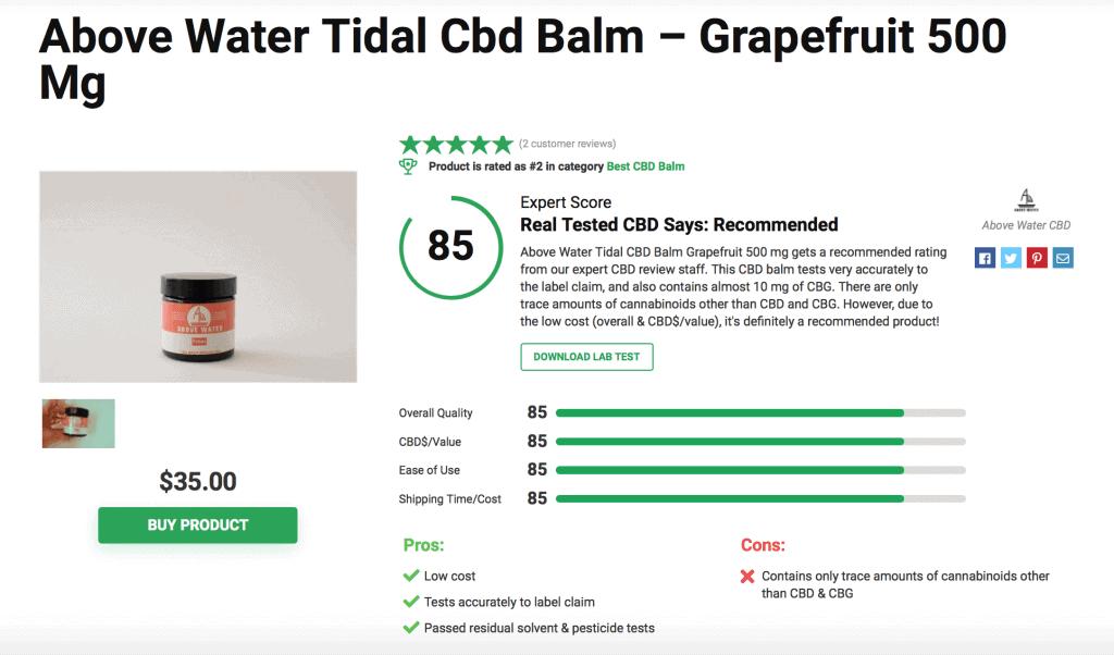 Above Water Tidal CBD Balm Grapefruit