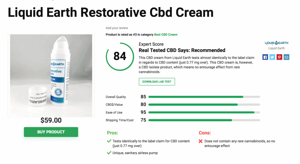 Liquid Earth Restorative CBD Cream