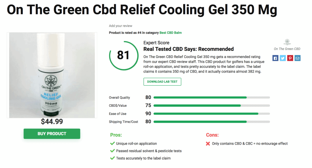 On The Green CBD Relief Cooling Gel