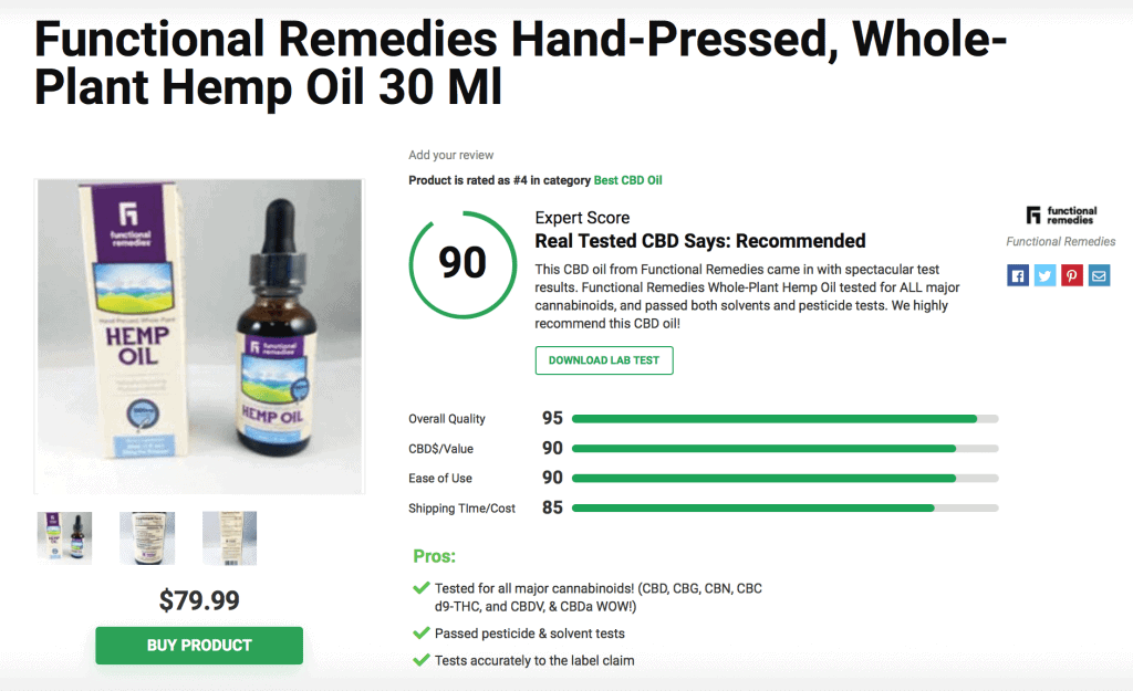 Functional Remedies Hand-Pressed Whole-Plant Hemp Oil 30mg