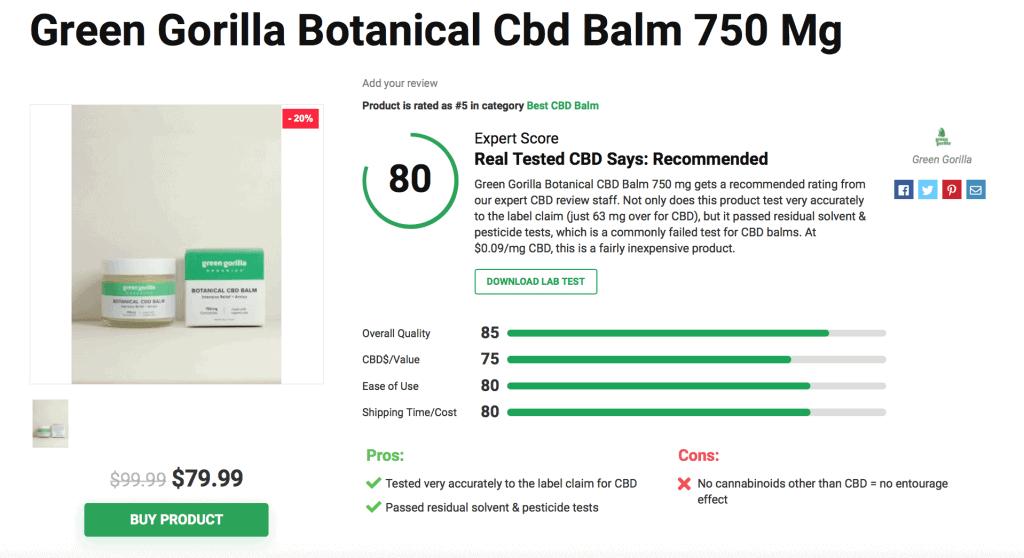 Green Gorilla Botanical CBD Balm