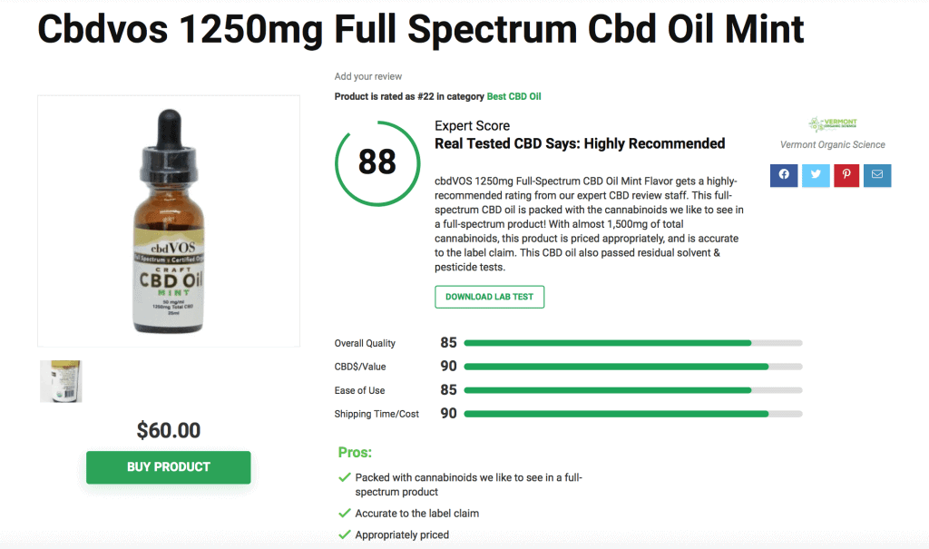 Vermont Organic Science (VOS) – Real Tested CBD Review