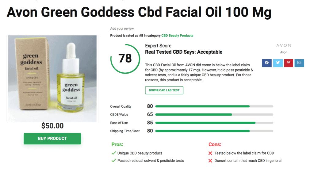 Green Goddess CBD Facial Oil in 100mg by Avon