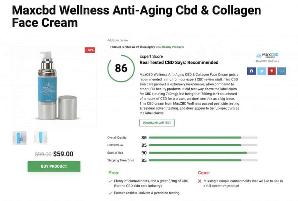 MaxCBDWellness anti-aging cream