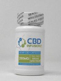 CBD INFUSIONZ HEMP CBD CAPSULES 250 MG THC FREE BROAD SPECTRUM